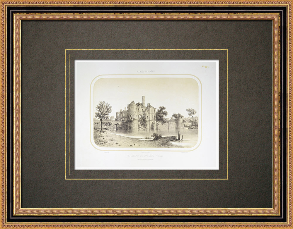 Antika Tryck & Ritningar | Slott i Palluau - Pays de la Loire - Vendée (Frankrike) | Litografi | 1860