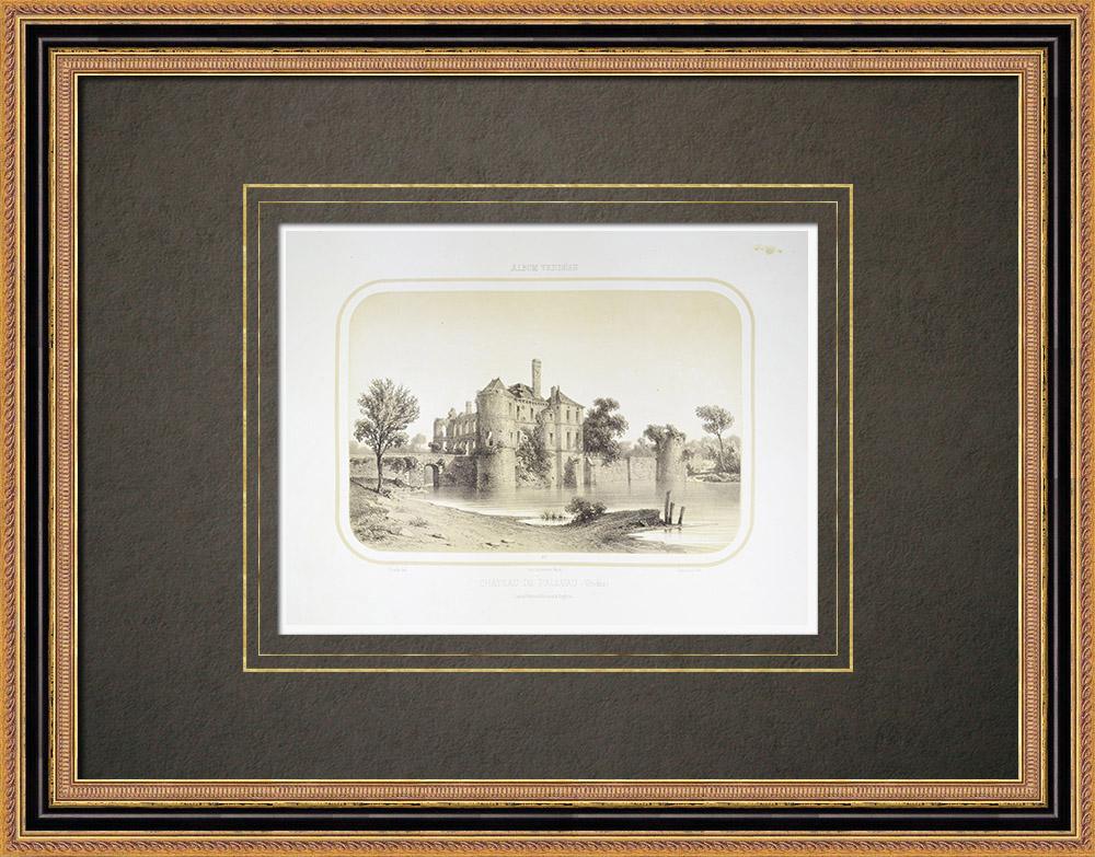 Gravuras Antigas & Desenhos | Castelo de Palluau - Pays de la Loire - Vendéia (França) | Litografia | 1860