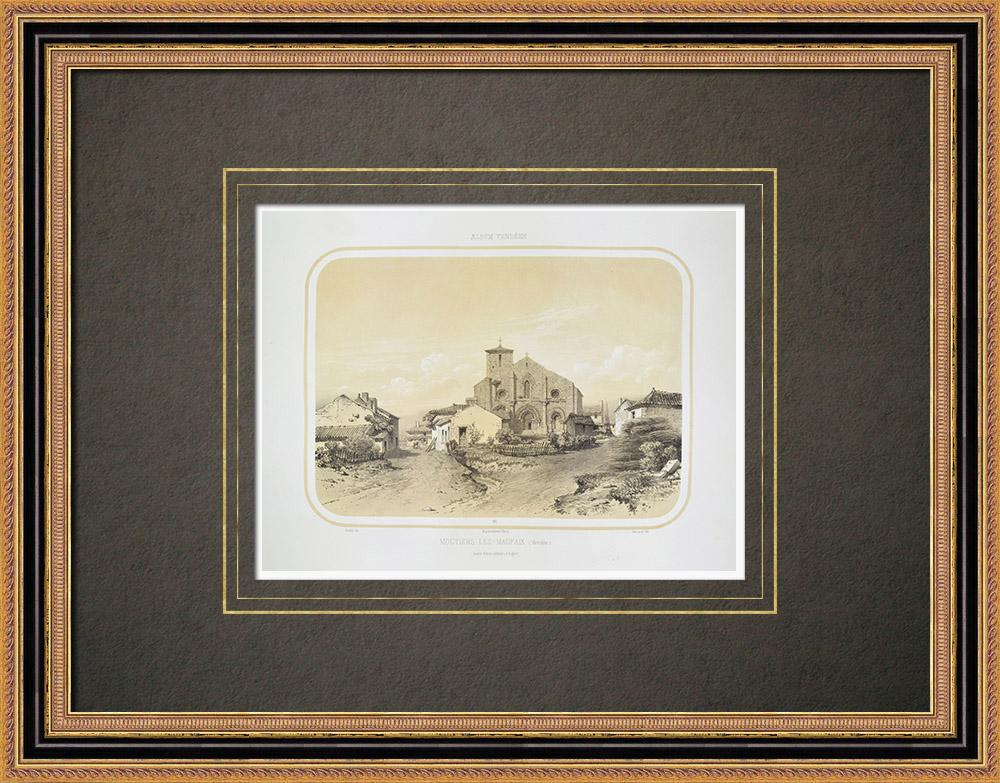Antique Prints & Drawings | Church in Moutiers-les-Mauxfaits - Pays de la Loire - Vendée (France) | Lithography | 1860
