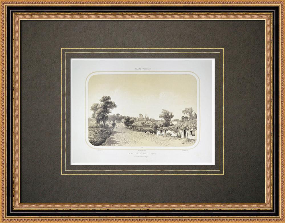 Grabados & Dibujos Antiguos | Vista de La Mothe-Achard - Pays de la Loire - Vandea (Francia) | Litografía | 1860