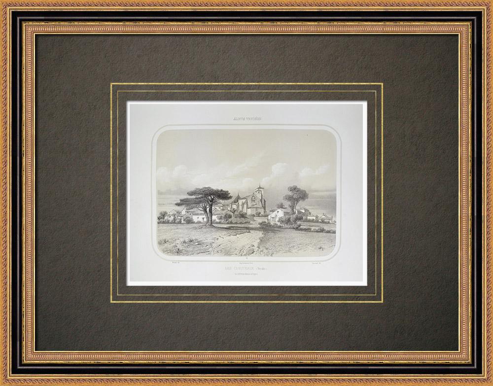 Antique Prints & Drawings | View of Les Clouzeaux - Pays de la Loire - Vendée (France) | Lithography | 1860