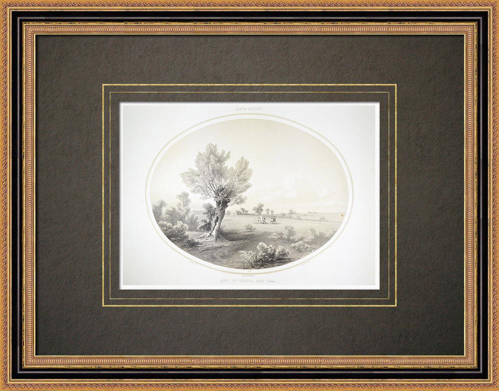Antika Tryck & Ritningar | Död av general Haxo - Strid i Clouzeaux - Vendée (Frankrike) | Litografi | 1860