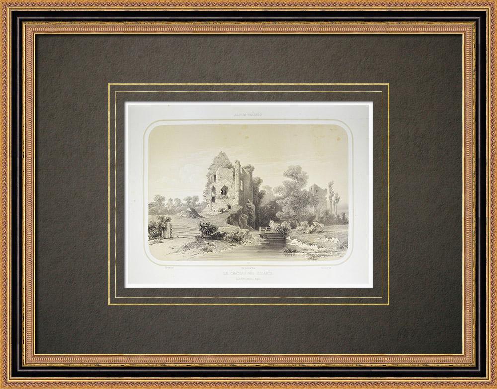 Grabados & Dibujos Antiguos | Castillo de Les Essarts - Pays de la Loire - Vandea (Francia) | Litografía | 1860