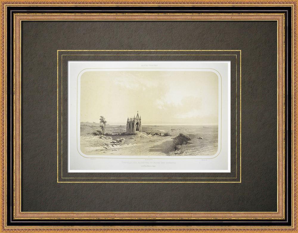 Oude Prenten & Tekeningen | Kapel Mont-des-alouettes - les Herbiers - Vendée (Frankrijk) | Lithografie | 1860