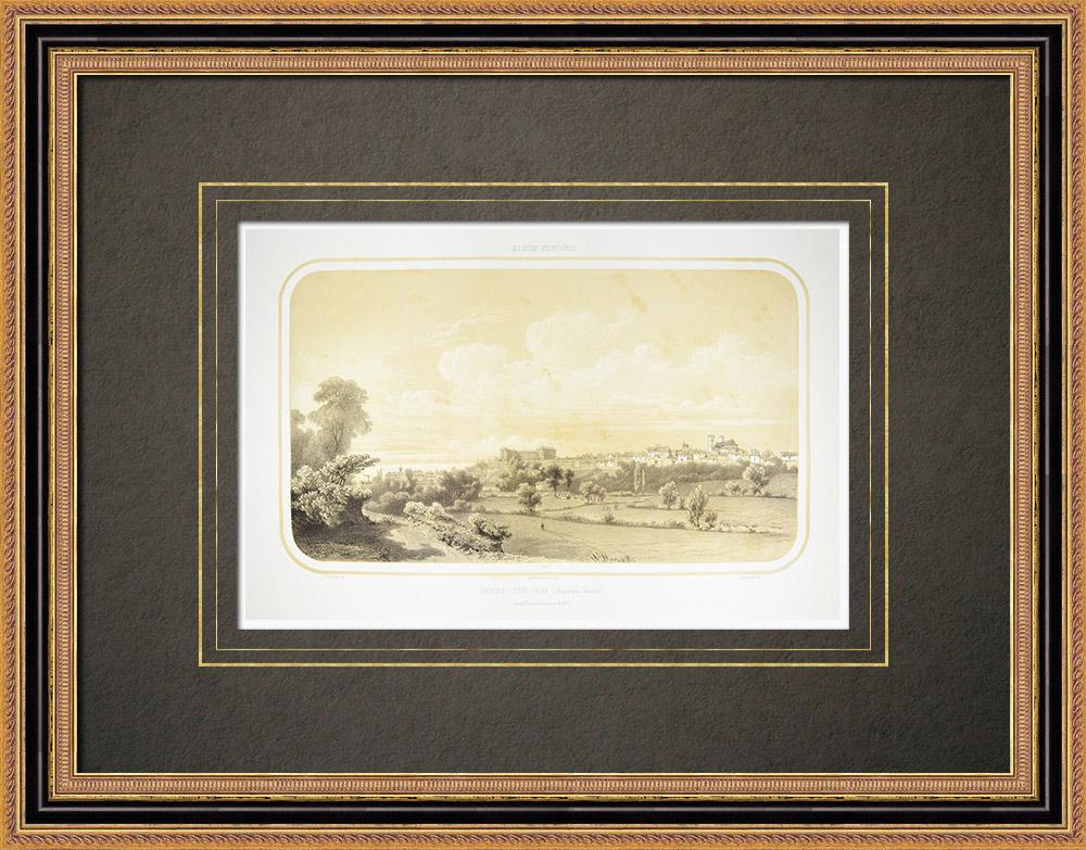 Antique Print & Etching   Ansicht von La Roche-sur-Yon - Vendée (Frankreich)   Lithografie   1860