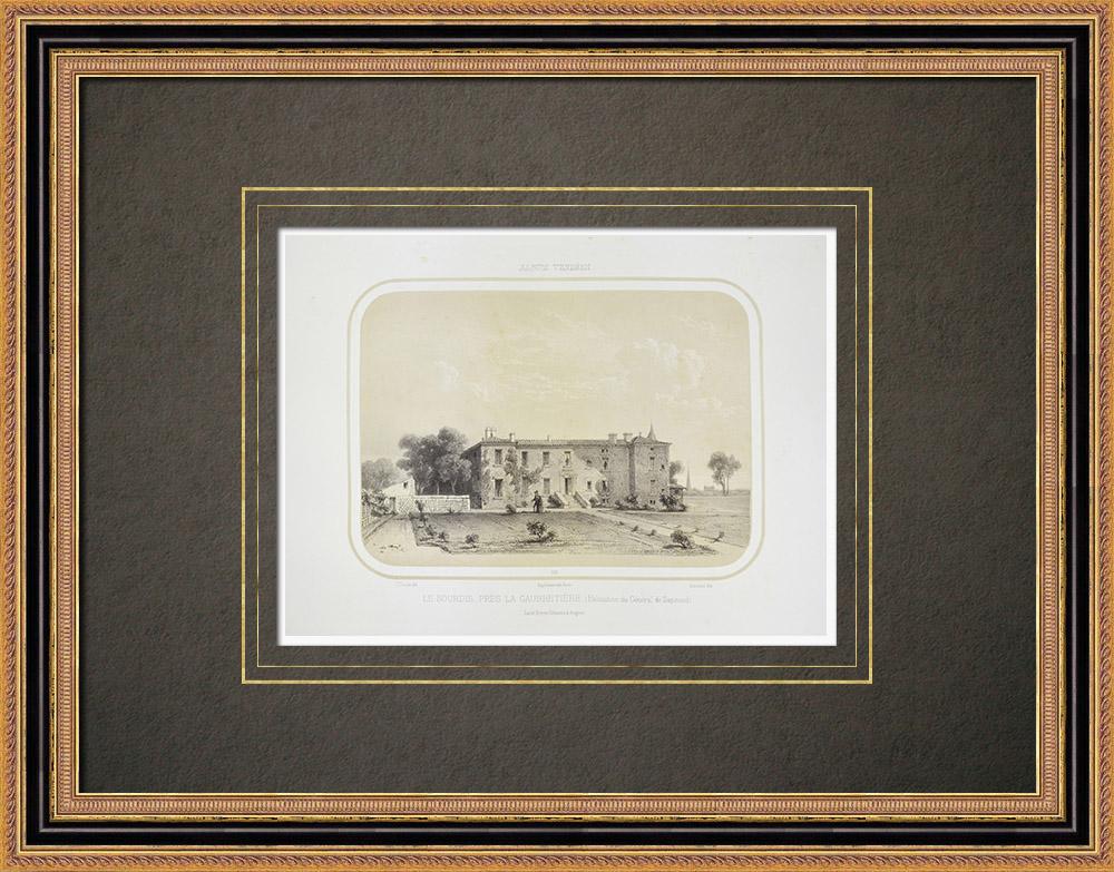 Antika Tryck & Ritningar | Le Sourdis slott nära La Gaubretière - General Sapinaud - Vendée (Frankrike) | Litografi | 1860