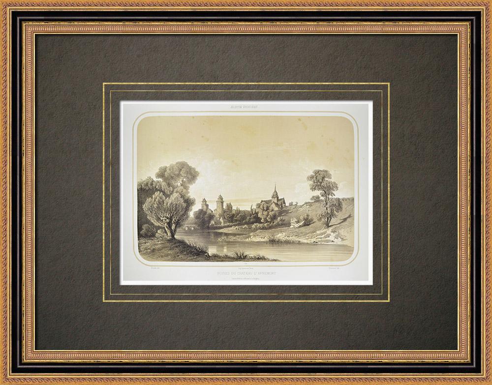 Antique Prints & Drawings | Ruins of the Apremont Castle - Pays de la Loire - Vendée (France) | Lithography | 1860