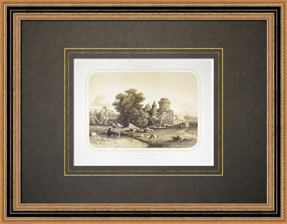 Oude Prenten & Tekeningen | Kasteel Saint-mesmin in Saint-andré-sur-sèvre - Deux-sèvres (Frankrijk) | Lithografie | 1860