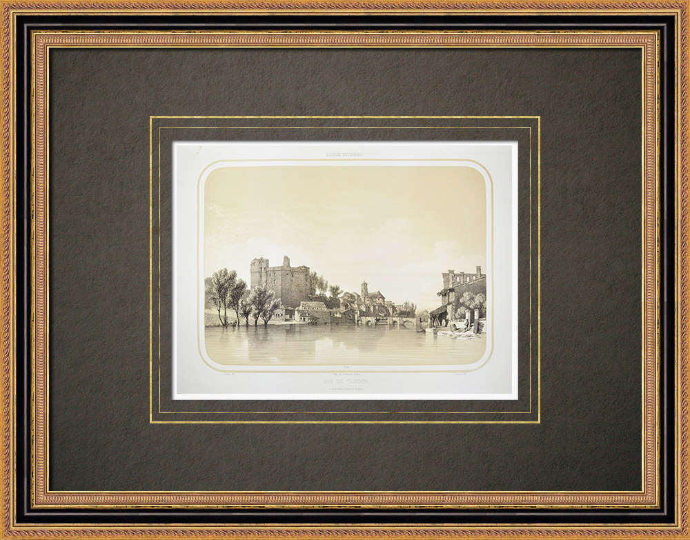 Oude Prenten & Tekeningen | Clisson Kasteel - Sèvre Nantaise - Loire-atlantique (Frankrijk) | Lithografie | 1860