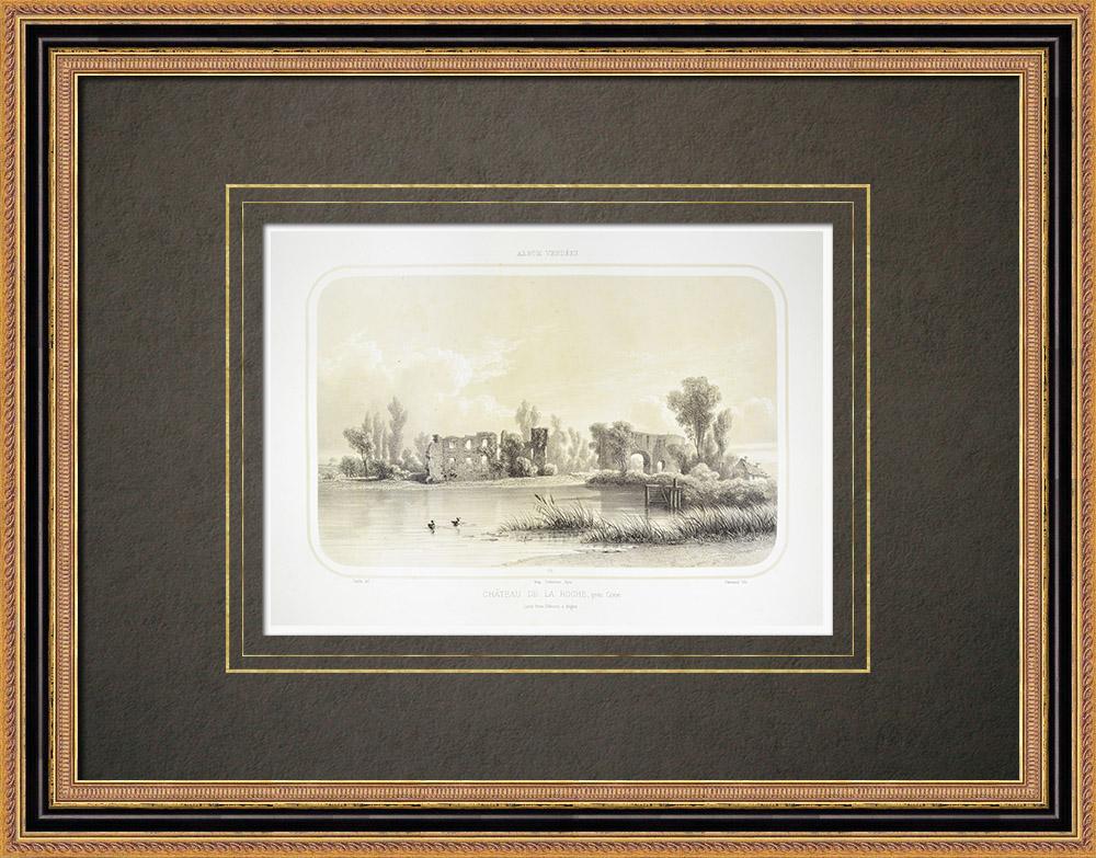 Grabados & Dibujos Antiguos | Castillo de La Roche cerca de Coron - Maine-et-Loire (Francia) | Litografía | 1860