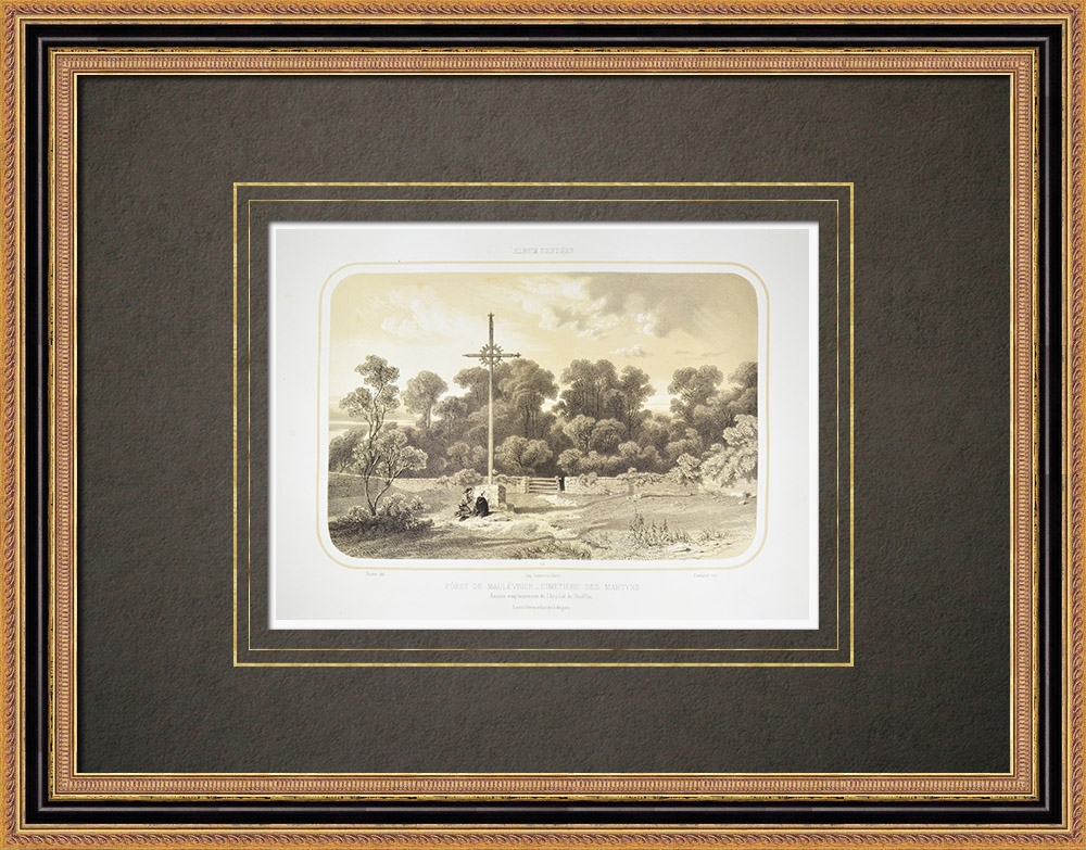Antika Tryck & Ritningar | Martyrkyrkogården - Maulévrier skog - Vendée Kriga - Maine-et-Loire (Frankrike) | Litografi | 1860