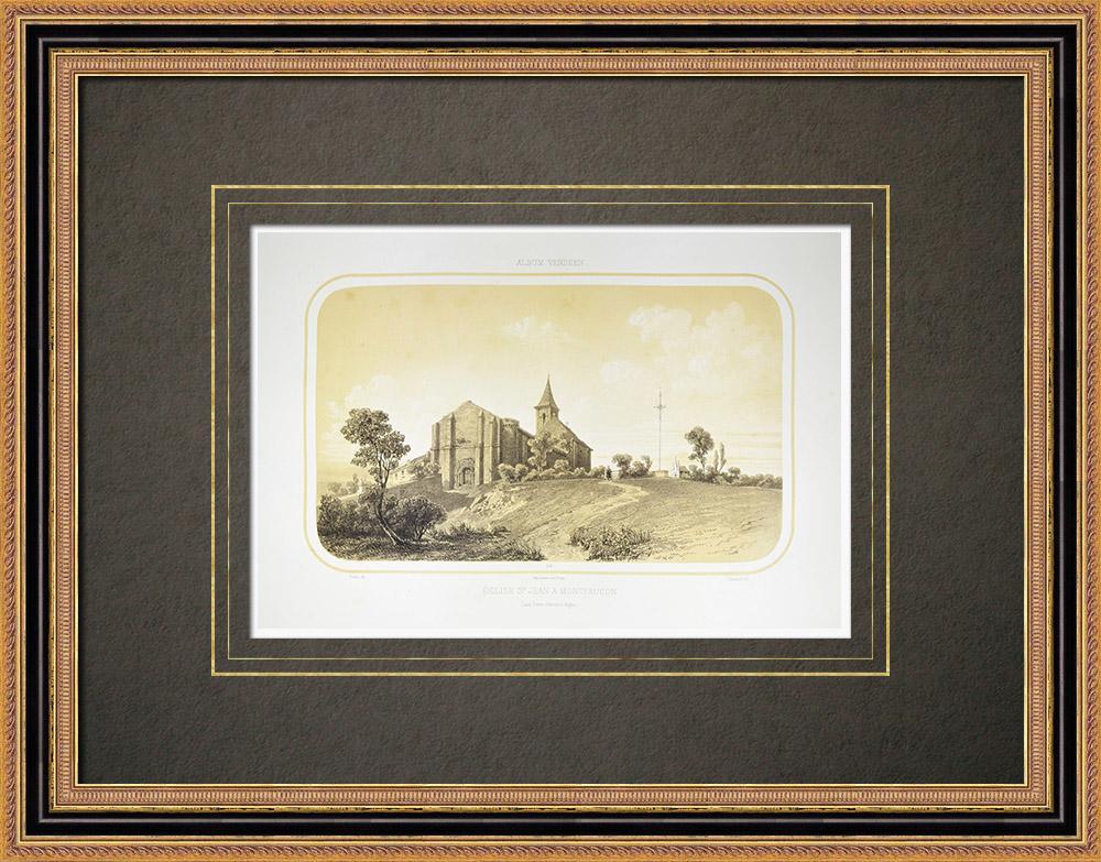 Antique Print & Etching | Kapelle in Montfaucon - Maine-et-Loire (Frankreich) | Lithografie | 1860
