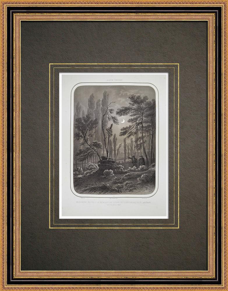 Grabados & Dibujos Antiguos | Monumento a La Rochejaquelein asesinado en Nuaillé - Maine y Loira - Maine-et-Loire (Francia) | Litografía | 1860