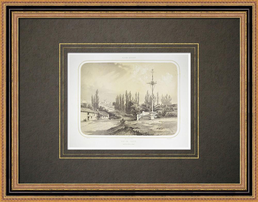 Antique Print & Etching | Ansicht von Gesté - Aufstand der Vendée - Maine-et-Loire (Frankreich) | Lithografie | 1860