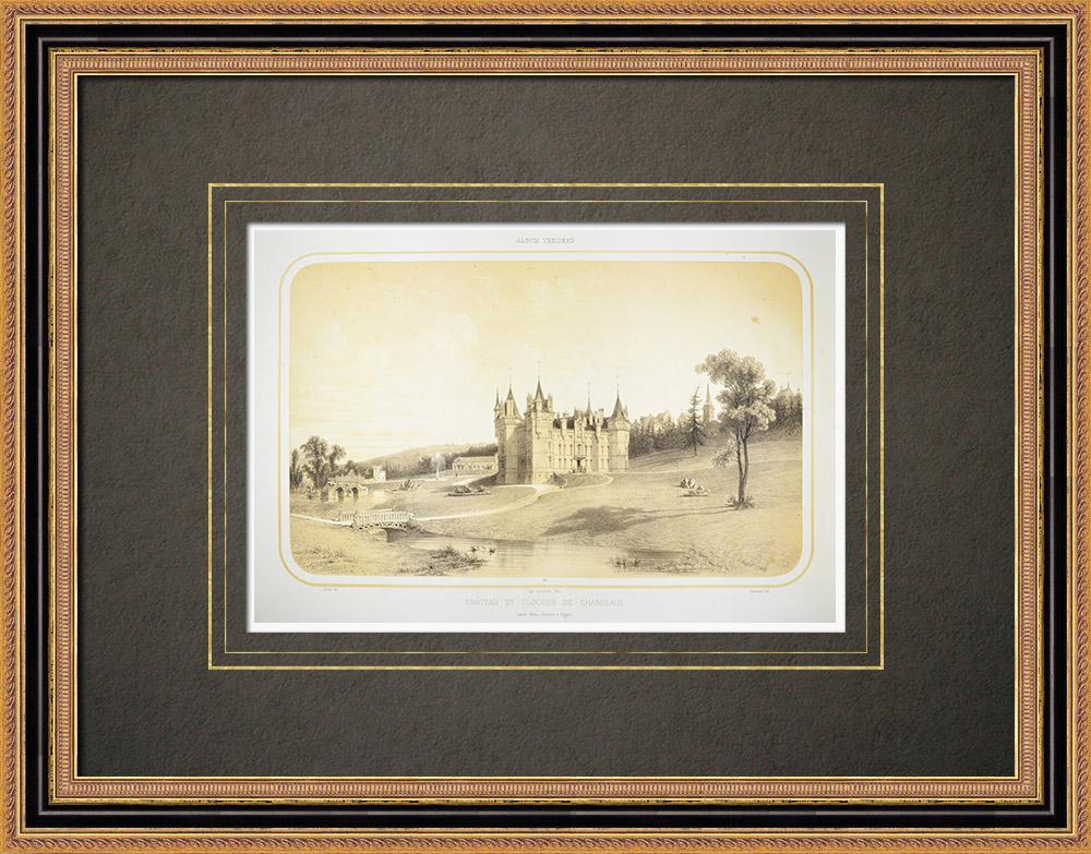 Grabados & Dibujos Antiguos | Castillo y campanario de la iglesia de Saint-Pierre en Chanzeaux - Maine-et-Loire (Francia)  | Litografía | 1860