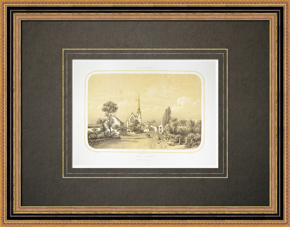 Gravuras Antigas & Desenhos | Vista de Aizenay - Antiga Igreja de Saint Benoit - Vendéia (França) | Litografia | 1860