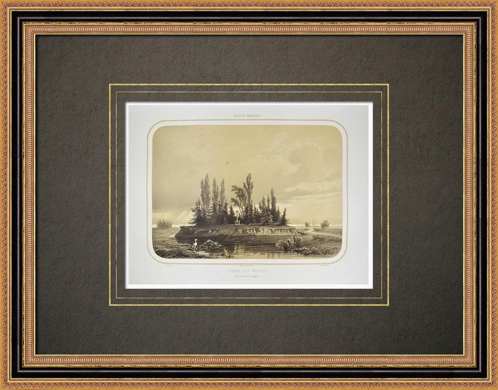 Antique Print & Etching | Les Mathes Schlachtfeld - Tod von Louis de La Rochejaquelein - Vendée (Frankreich)  | Lithografie | 1860