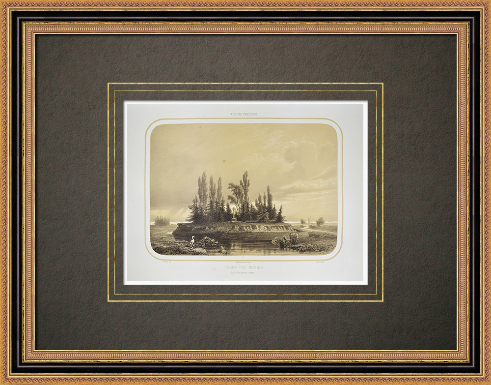 Stare Grafiki & Rysunki | Les Mathes Battlefield - Death of Louis de la Rochejaquelein - Wandea (Francja) | Litografia | 1860