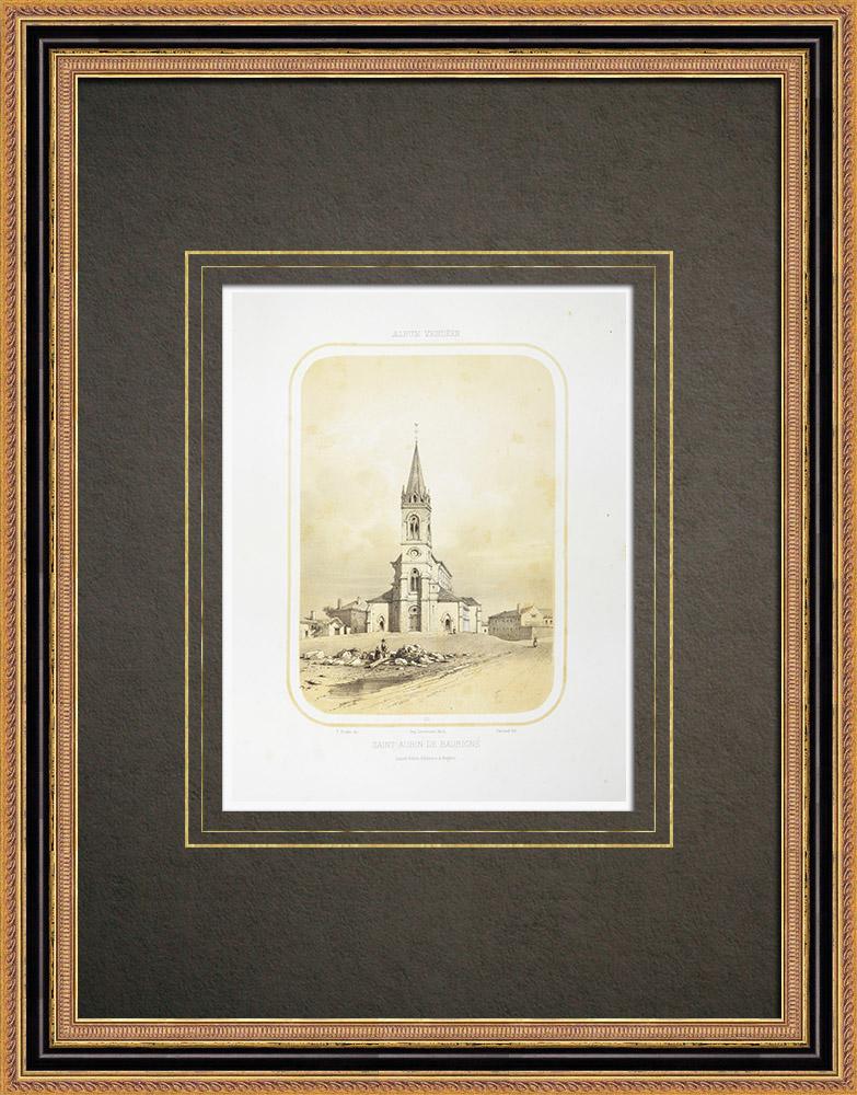 Antika Tryck & Ritningar | Kyrka i Saint-Aubin-de-Baubigné - Deux-Sèvres (Frankrike) | Litografi | 1860