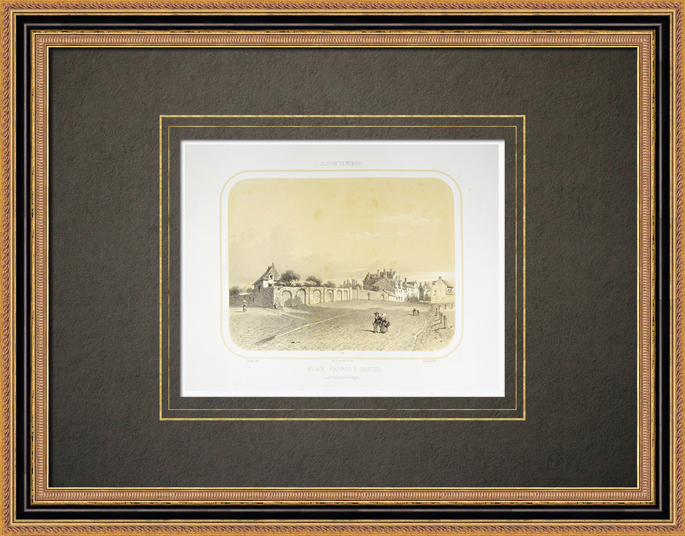 Antique Print & Etching | Place Viarme in Nantes - Loire-Atlantique (Frankreich) | Lithografie | 1860