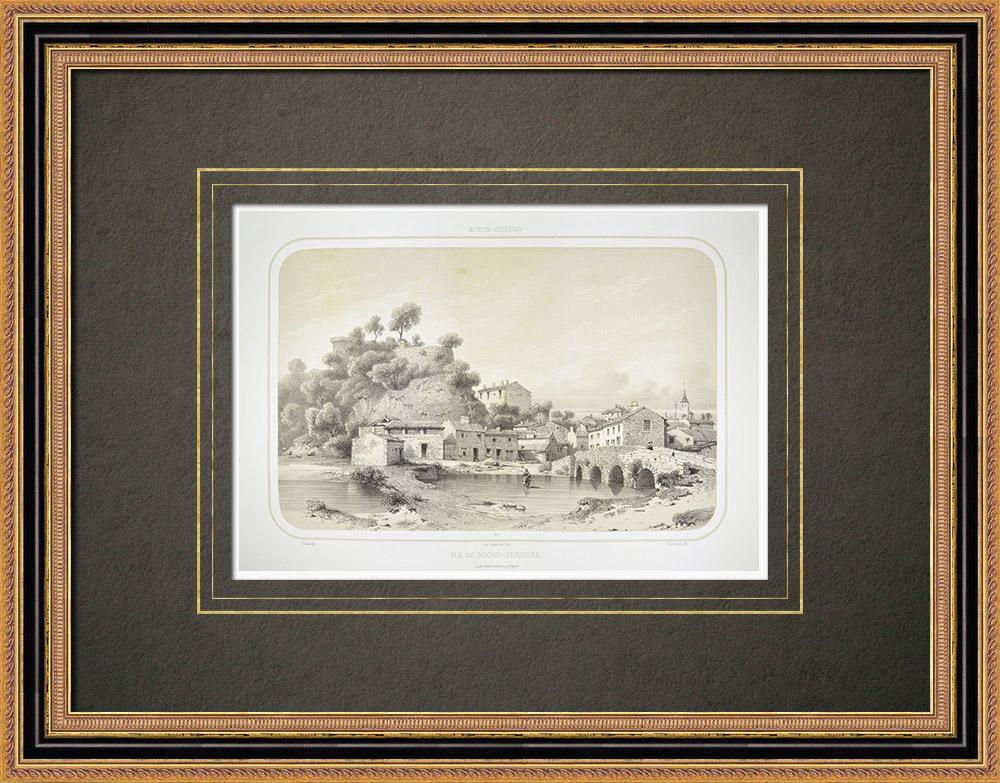 Gravures Anciennes & Dessins | Vue de Rocheservière - Vendée (France) | Lithographie | 1860