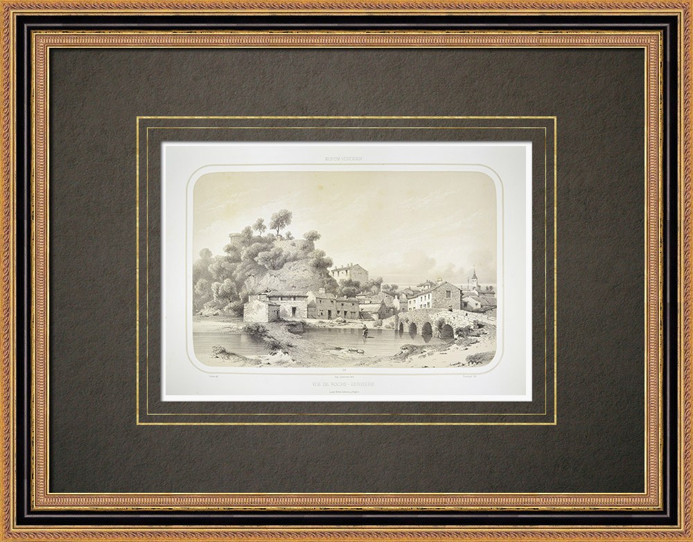 Stare Grafiki & Rysunki | Widok Rocheservière - Wandea (Francja) | Litografia | 1860