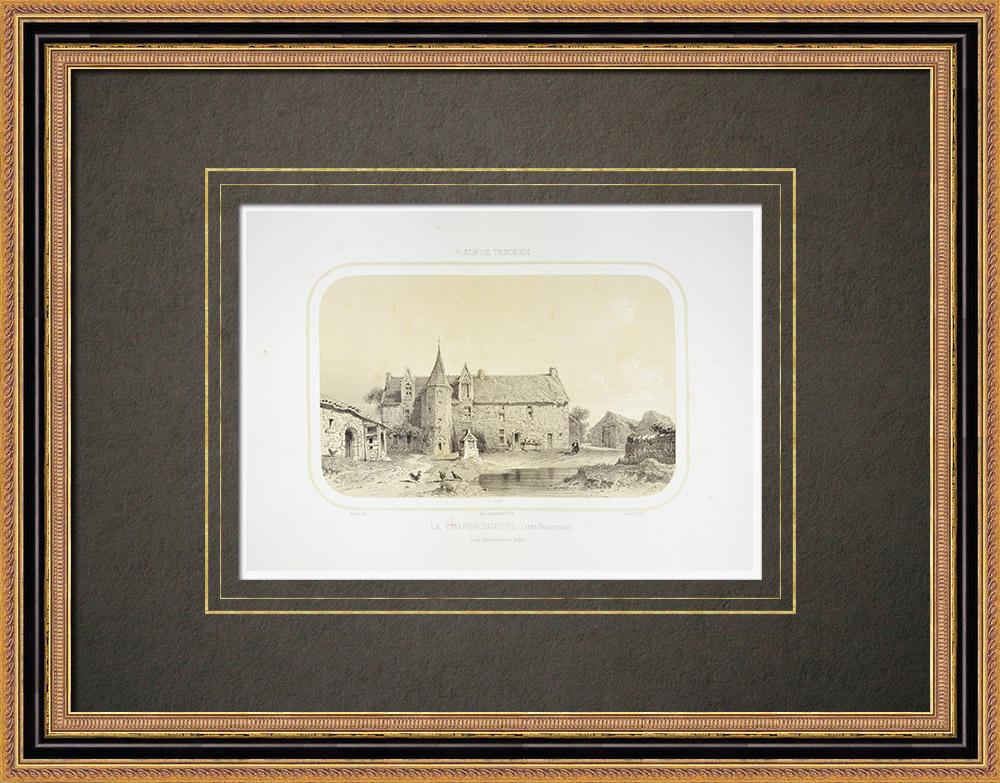 Gravures Anciennes & Dessins | Manoir de la Chaperonnière - Maine-et-Loire (France) | Lithographie | 1860
