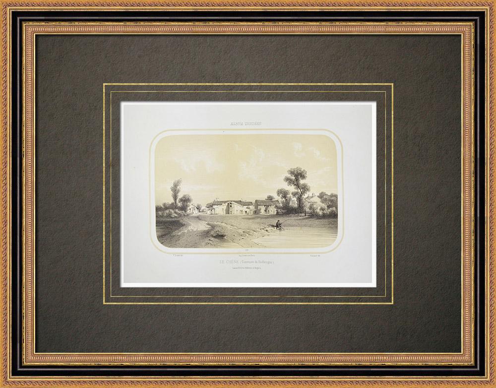 Stampe Antiche & Disegni | Veduta di Le Chêne - Vieillevigne - Loira atlantica (Francia) | Litografia | 1860