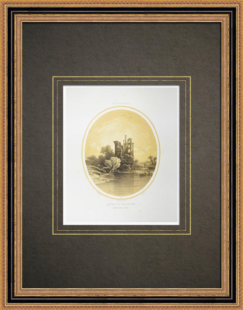 Stare Grafiki & Rysunki | Zamek Vieillevigne - Loire-atlantique (Francja) | Litografia | 1860
