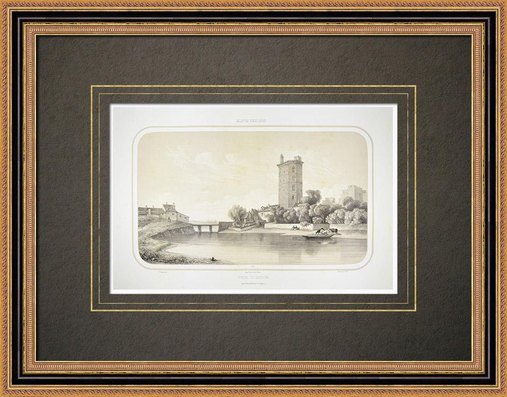 Stampe Antiche & Disegni | Castello di Oudon - Torre - Pays de la Loire - Loira atlantica (Francia) | Litografia | 1860