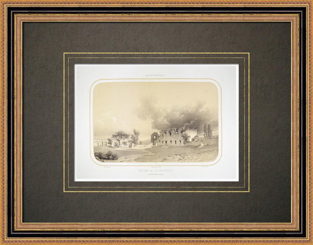 Antique Print & Etching | Pénissière Schloss in La Bernardière - Vendée (Frankreich) | Lithografie | 1860