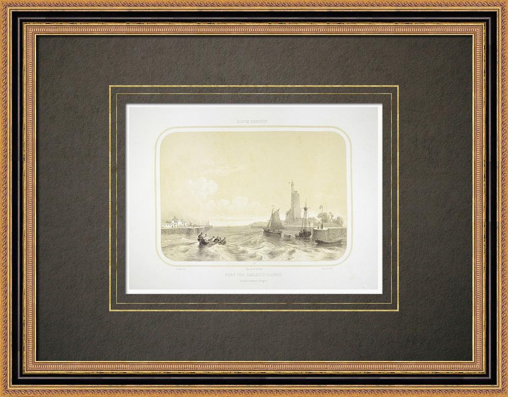 Antique Print & Etching | Hafen von Les Sables-d'Olonne - Vendée (Frankreich) | Lithografie | 1860