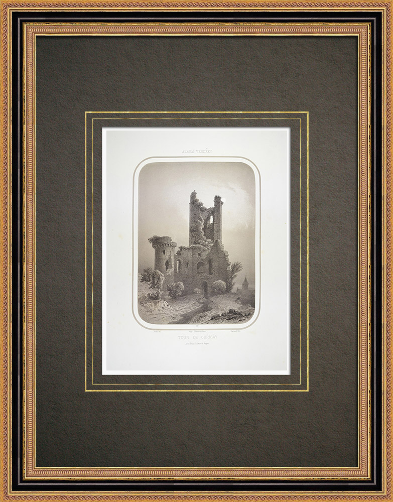 Gravures Anciennes & Dessins | Tour du vieux château de Cerizay - Deux-Sèvres (France) | Lithographie | 1860