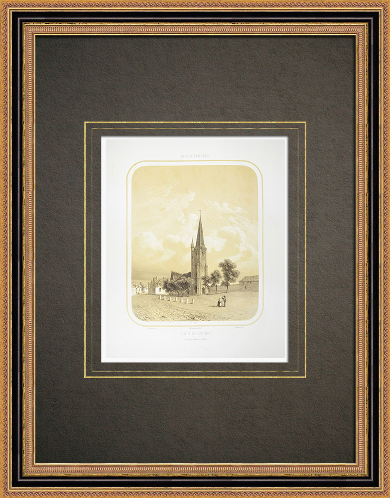 Antique Prints & Drawings | Church of Bouin - Steeple - Vendée (France) | Lithography | 1860