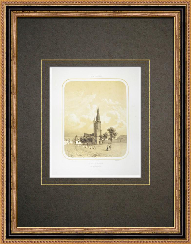 Stampe Antiche & Disegni | Chiesa di Bouin - Campanile - Vandea (Francia) | Litografia | 1860