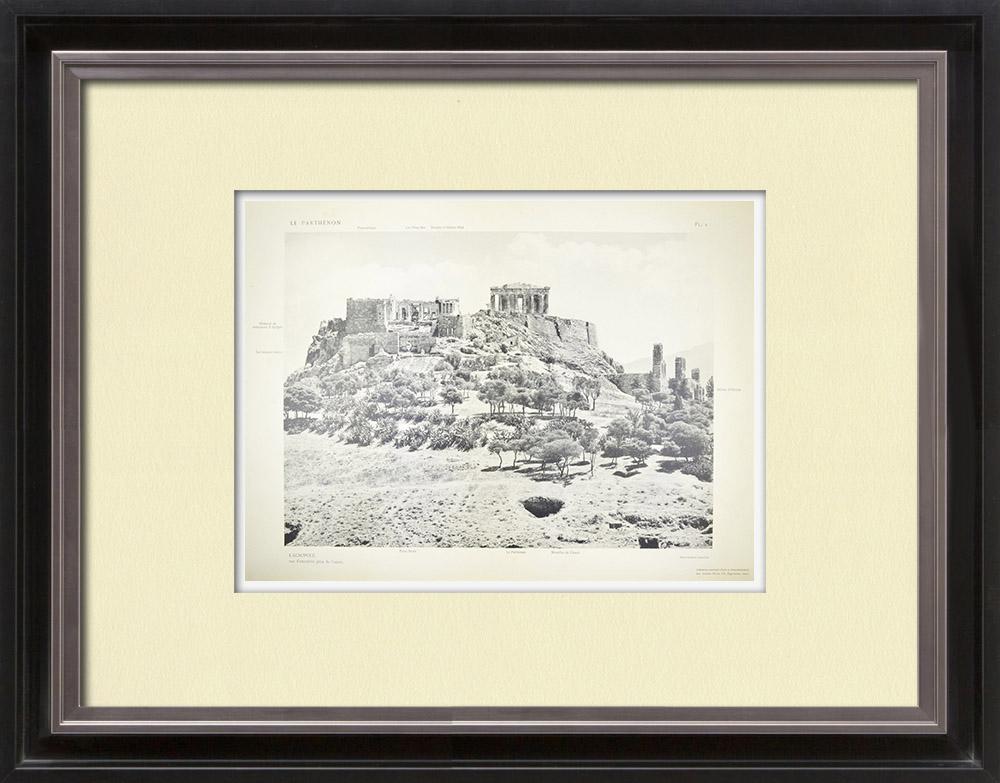 Gravures Anciennes & Dessins | Acropole d'Athènes - Parthénon - Propylées - Temple d'Athena (Grèce) | Héliogravure | 1912