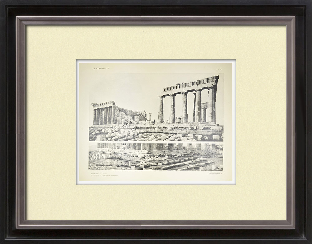 Antique Print & Etching   Ansicht von den Parthenon, Südseite (Griechenland)   Heliogravüre   1912
