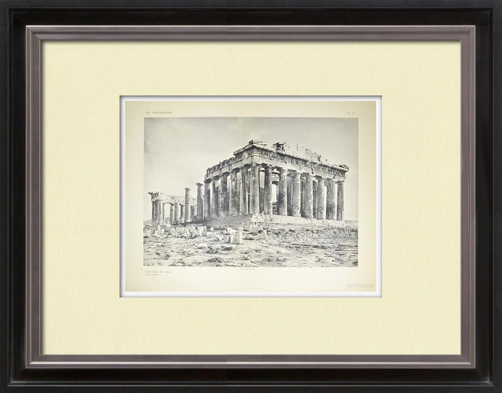 Gravuras Antigas & Desenhos | Vista do Parthenon, lado oeste e norte (Grécia)  | Heliogravura | 1912