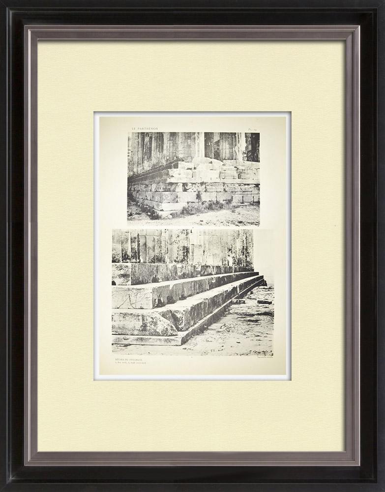 Gravuras Antigas & Desenhos | Vista do Parthenon - Estilóbata (Grécia) | Heliogravura | 1912