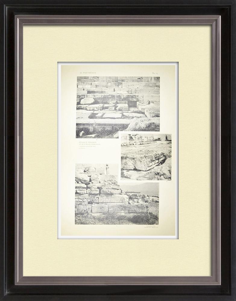 Antique Print & Etching   Ansicht von den Parthenon - Stylobat - Stereobat (Griechenland)   Heliogravüre   1912