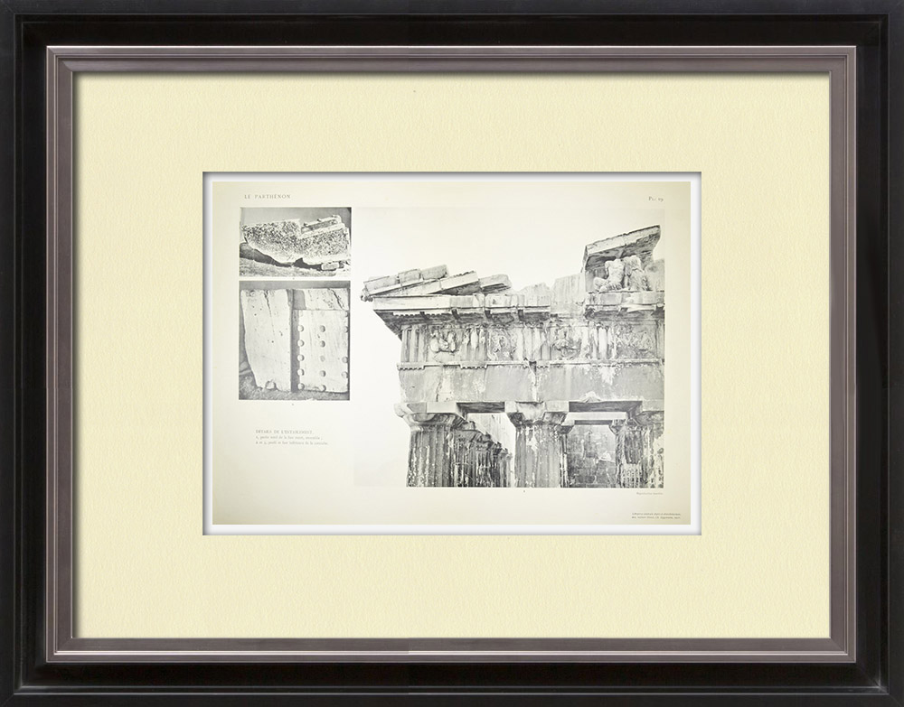 Antique Prints & Drawings | View of the Parthenon - Entablature (Greece) | Heliogravure | 1912