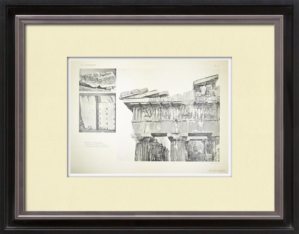 Antique Print & Etching | Ansicht von den Parthenon - Gebälk (Griechenland) | Heliogravüre | 1912