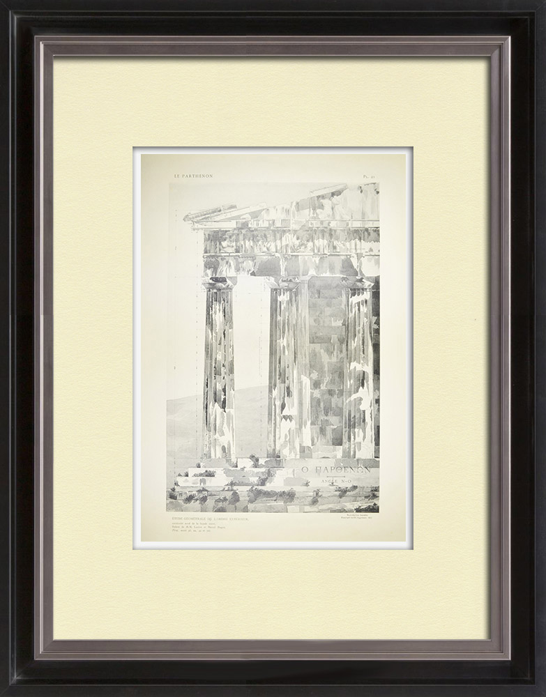 Antique Prints & Drawings | View of the Parthenon - Columns - Order - West face (Greece) | Heliogravure | 1912
