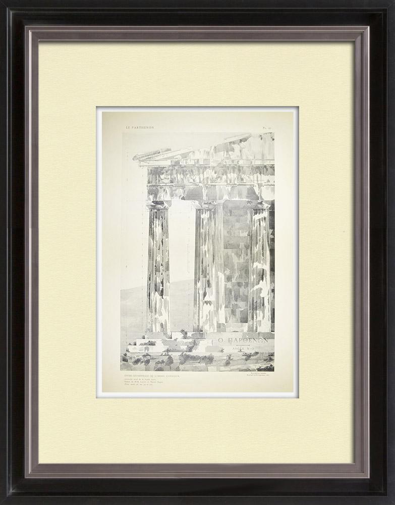 Antique Print & Etching   Ansicht von den Parthenon - Kolonnaden - Ordnung - Westseite (Griechenland)   Heliogravüre   1912