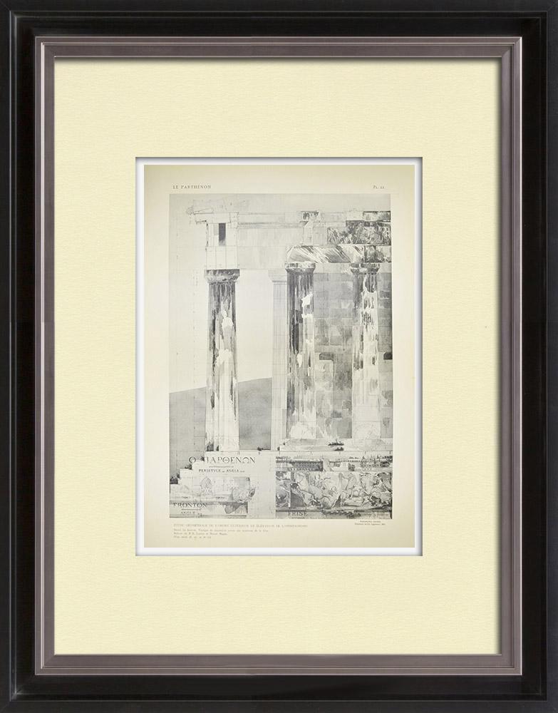 Antique Print & Etching | Ansicht von den Parthenon - Opisthodom (Griechenland)  | Heliogravüre | 1912