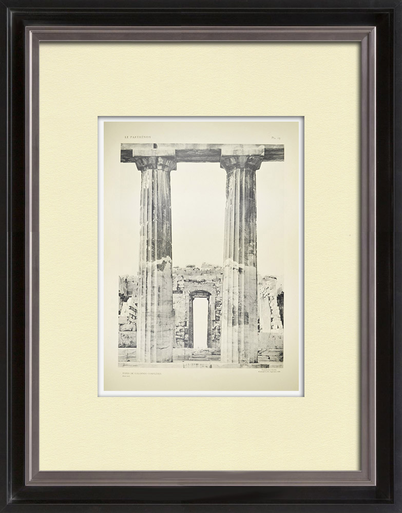 Stare Grafiki & Rysunki | Widok Partenon - Kolumny (Grecja) | Heliograwiura | 1912