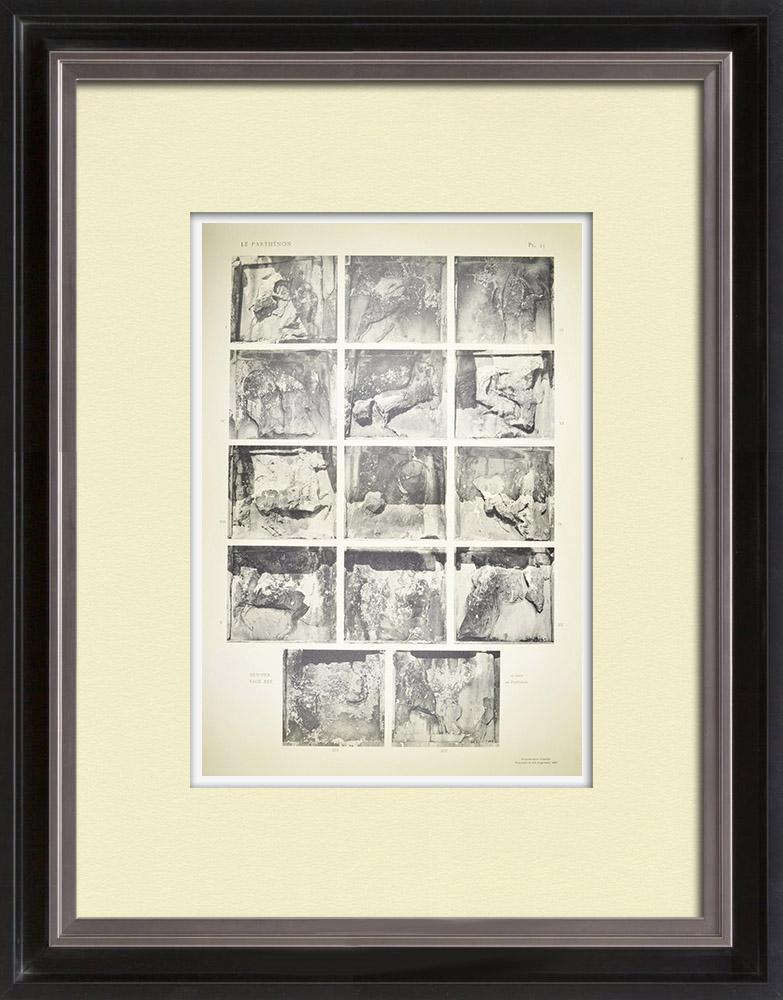 Gravures Anciennes & Dessins | Métopes du Parthénon - Colonnes du péristyle (Grèce) | Héliogravure | 1912