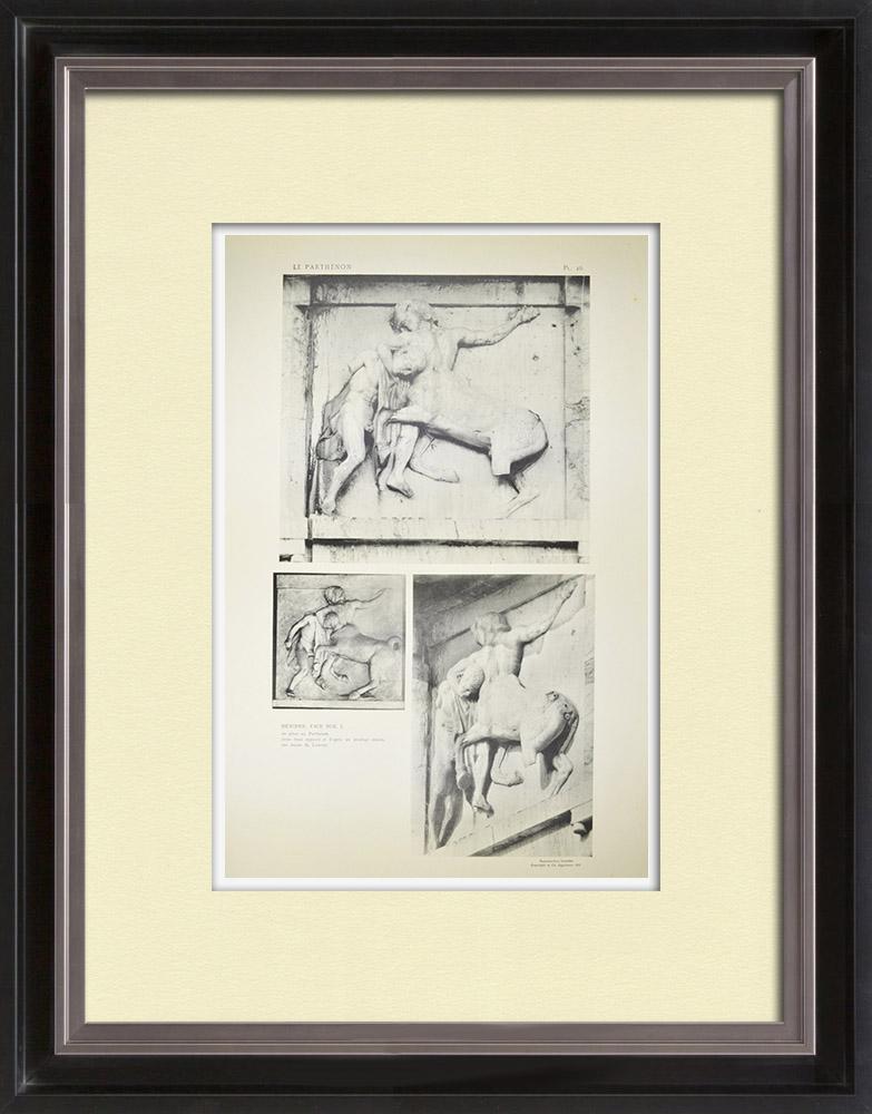 Oude Prenten & Tekeningen | Metopen van het Parthenon - Centaur (Griekenland) | Heliogravure | 1912