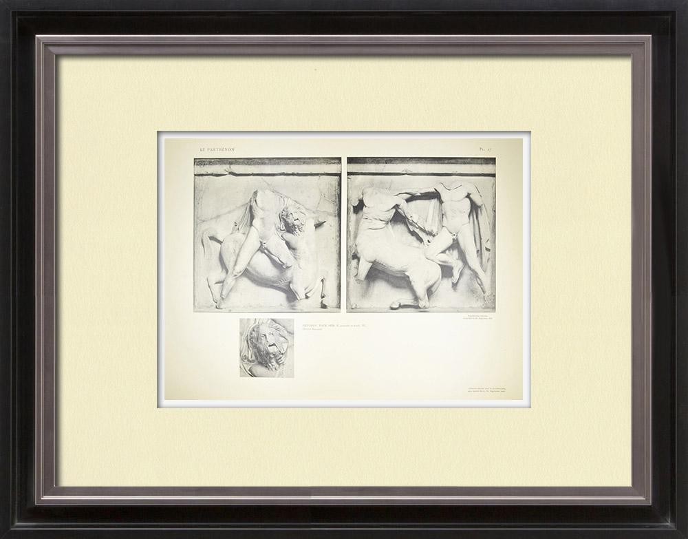 Stampe Antiche & Disegni | Metope del Partenone - Centauro (Grecia) | Heliogravure | 1912