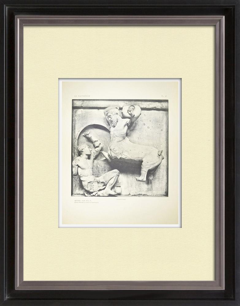 Gravures Anciennes & Dessins   Métopes du Parthénon - Face sud - Centaure (Grèce)   Héliogravure   1912